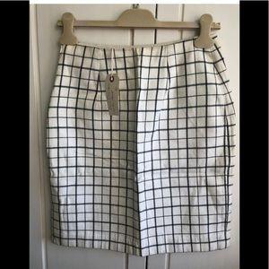 Dolce & Gabbana White Checkered Pencil Wool Skirt